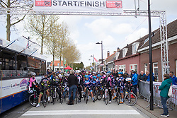 The riders line up on the start line of the Omloop van Borsele - a 107.1 km road race, starting and finishing in s'-Heerenhoek on April 22, 2017, in Borsele, the Netherlands.