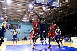 Tevin Falzon of Bristol Flyers reaches for the basket - Mandatory by-line: Robbie Stephenson/JMP - 05/10/2018 - BASKETBALL - University of Worcester Arena - Worcester, England - Bristol Flyers v Worcester Wolves - British Basketball League