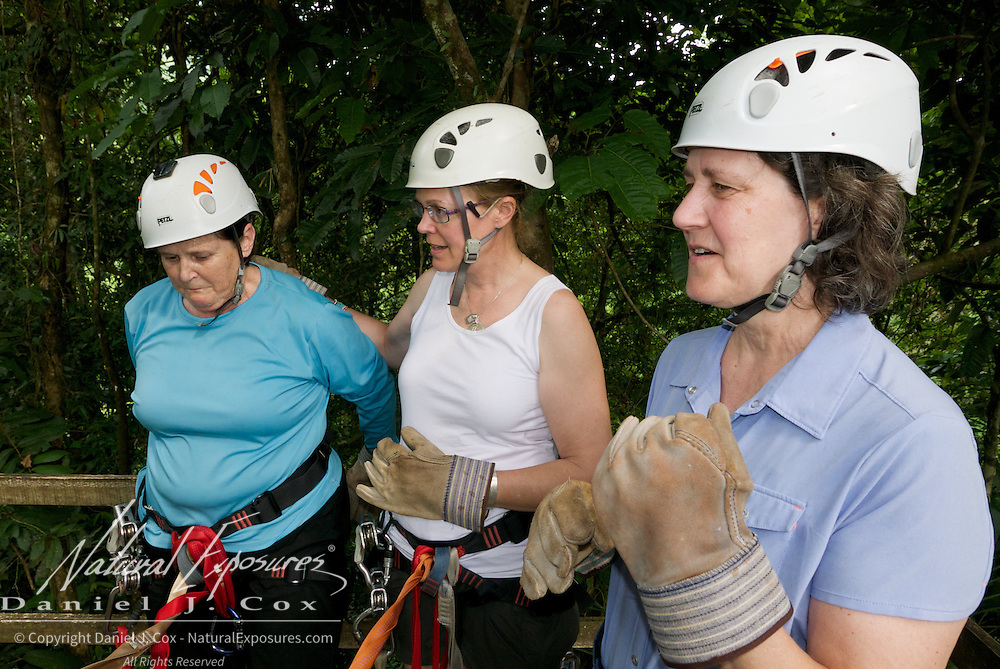 Carol, Christine and Tish, Zip lining, Costa Rica.