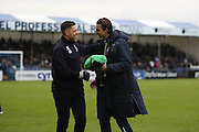 Bristol Rovers goalkeeper Kelle Roos (33) and AFC Wimbledon goalkeeping coach Ashley Bayes in action during the EFL Sky Bet League 1 match between Bristol Rovers and AFC Wimbledon at the Memorial Stadium, Bristol, England on 31 December 2016. Photo by Stuart Butcher.