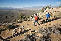 Young couple hiking near Bishop, CA
