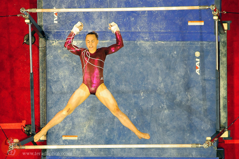 June 29, 2012; San Jose, CA, USA; Rebecca Bross performs on the uneven bars during the 2012 USA Gymnastics Olympic Team Trials at HP Pavilion.