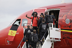 June 13, 2018 - Zaventem, BELGIUM - Belgium's Michy Batshuayi makes a selfie with team-mates Vincent Kompany and Belgium's Romelu Lukaku as they get in the special plane of Brussels Airlines called 'the Trident' with Belgian flag colours and pictures of players at the departure of the Belgian national soccer team Red Devils, Wednesday 13 June 2018, in Zaventem airport. The Red Devils flight to Moscow today for the FIFA World Cup 2018...BELGA PHOTO THIERRY ROGE (Credit Image: © Thierry Roge/Belga via ZUMA Press)