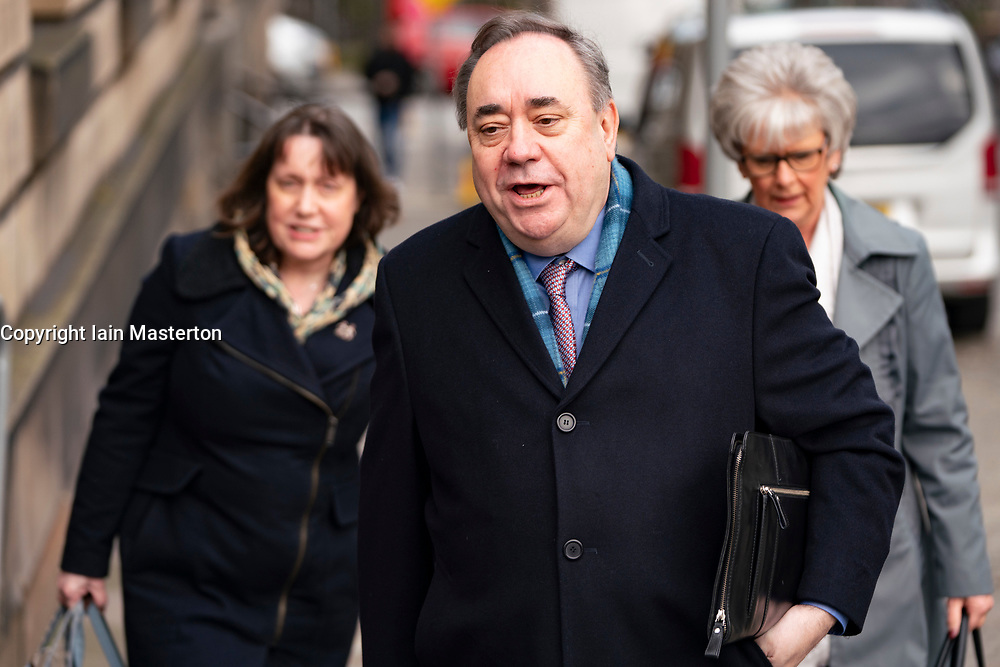 Edinburgh, Scotland, UK. 13 March, 2020. Alex Salmond arrives at High Court in Edinburgh on day five of his trial. Iain Masterton/Alamy Live News