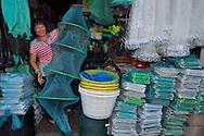 Fishing net and fish trap equipment shops, Xia Shan area in the Zhan Jiang city, Guangdong, China