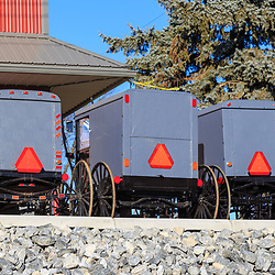 Bird-in-Hand, PA, USA - December 13, 2017: Amish buggies are parked and ready for sale at a buggy shop in Lancaster County, PA.