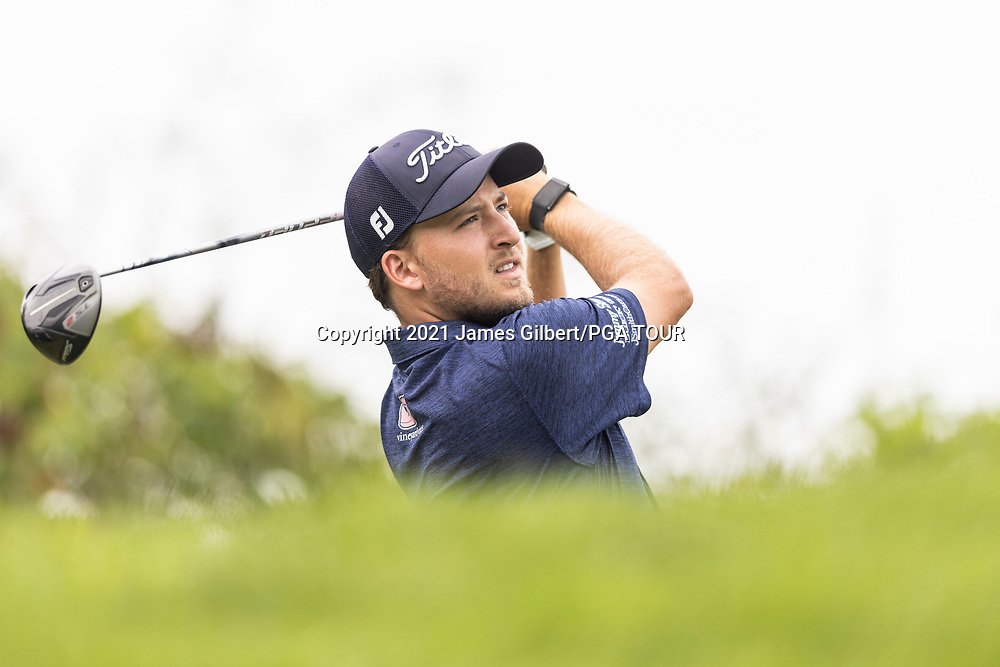 NEWBURGH, IN - SEPTEMBER 04: Lee Hodges plays his shot from the 3rd tee during the third round of the Korn Ferry Tour Championship presented by United Leasing and Financing at Victoria National Golf Club on September 4, 2021 in Newburgh, Indiana. (Photo by James Gilbert/PGA TOUR via Getty Images)