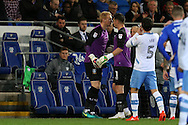Sheffield Wednesday goalkeeper Kieren Westwood (1) is replaced by replacement goalkeeper Cameron Dawson (l) EFL Skybet championship match, Cardiff city v Sheffield Wednesday at the Cardiff city stadium in Cardiff, South Wales on Wednesday 19th October 2016.<br /> pic by Andrew Orchard, Andrew Orchard sports photography.