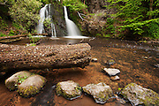Wideangle view of the upper falls at Fairy Glen on the Black Isle of Scotland.