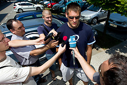 Journalists with Goran Jagodnik of Slovenia Basketball national team at departure to Rogla before World Championship in Turkey, on July 10, 2010 at KZS, Ljubljana, Slovenia. (Photo by Vid Ponikvar / Sportida)