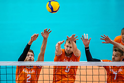 Wessel Keemink of Netherlands, Luuc van der Ent of Netherlands, Gijs Jorna of Netherlands in action during the CEV Eurovolley 2021 Qualifiers between Sweden and Netherlands at Topsporthall Omnisport on May 14, 2021 in Apeldoorn, Netherlands