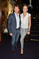 JAMES BLUNT and his wife SOFIA at a party to celebrate the launch of the Dee Ocleppo 2015 Pre Fall Collection benefiting the Walkabout Foundation held at Loulou's, 5 Hertford Street, London on 16th June 2015.