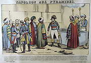 Napoleon in Egypt, 1798, visiting the Pyramids. 19th French popular hand-coloured woodcut.