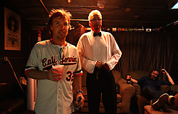 Comedian Doug Stanhope, left, prepares backstage with other comedians at Antones in downtown Austin, Texas on Aug. 3, 2008. Stanhope will be performing at the Edinburgh Festival.