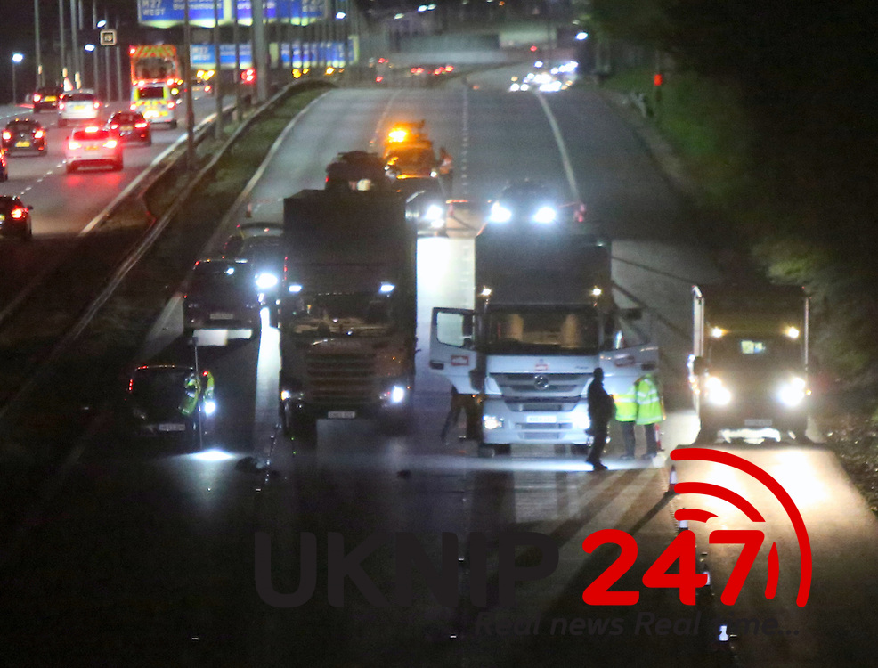 """Thursday 28th April 2016 A Man has been struck by a car after running across a three lane major motorway in Hampshire. <br /> <br /> Ambulance crews were called out to the emergency that occurred between junctions 12 and 13 of the M3 on the northbound carriageway.<br /> <br /> The motorway is currently closed after what Highways England are calling a """"serious incident"""".<br /> <br /> Two ambulance crews and a doctor attended the scene at 7.37pm and a spokesperson for South Central Ambulance said the man has sustained a serious but not life-threatening injury<br /> <br /> He has been taken to Southampton General Hospital and was conscious and breathing at the time.<br /> <br /> They added that it appeared the man was hit by a car whilst running across the motorway.<br /> Drivers heading home have reported gridlock traffic while the motorway remains closed and have seen a lorry stopped in the road as well as cars on the hard shoulder.<br /> <br /> The incident has caused major traffic delays on the motorway heading north. @UKNIP"""