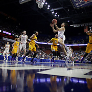 c drives to the basket during the UConn Huskies Vs East Carolina Pirates Quarter Final match at the  2016 American Athletic Conference Championships. Mohegan Sun Arena, Uncasville, Connecticut, USA. 5th March 2016. Photo Tim Clayton