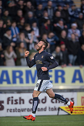 Falkirk's Lee Miller cele scoring their goal. <br /> Half time ; Falkirk 1 v 0 Fraserburgh, Scottish Cup third round, played 28/11/2015 at The Falkirk Stadium.