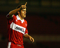 Photo: Back Page Images. 27/10/2004.<br /> Carling Cup. Middlesbrough v Coventry City. The Riverside Stadium.<br /> Danny Graham celebrates Boro's Third goal