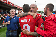 Billy Osman Mehmet hugs team mate Tansel Taner Osman. Northern Cyprus 3 v Padania 2 during the Conifa Paddy Power World Football Cup semi finals on the 7th June 2018 at Carshalton Athletic Football Club in the United Kingdom. The CONIFA World Football Cup is an international football tournament organised by CONIFA, an umbrella association for states, minorities, stateless peoples and regions unaffiliated with FIFA.