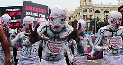 May 30, 2017 - Kolkata, West Bengal, India - Activist took part in a rally with skeleton attire to create awareness among the general people during observe ''World No Tobacco Day'' in Kolkata. (Credit Image: © Saikat Paul/Pacific Press via ZUMA Wire)