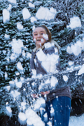 Tunbridge Wells, December 16 2017. Winner of the TK Maxx White Christmas promotion enjoy a day of fun in the snow, after aunt Helen Haggertay found one of the 'snow globes' in TK Maxx in Tunbridge Wells and gifted it to her sister Louise and niece Sofia Migliaccio. An exciting day ensued after several tons of snow were delivered BY TK Maxx and friends arrived to enjoy the day. PICTURED Lily, 13, shovels snow: