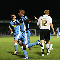 Photo: Rich Eaton.<br /> <br /> Hereford United v Wycombe Wanderers. Coca Cola League 2. 12/09/2006. Jermaine Easter #9 in centre celebrates scoring Wycombes second goal which wins the gae