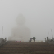 The Big Buddha monumet during rain on Phuket, Thailand