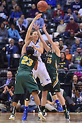 April 4, 2016; Indianapolis, Ind.; Kiki Robertson and Jessica Madison trap Tess Bruffey in the NCAA Division II Women's Basketball National Championship game at Bankers Life Fieldhouse between UAA and Lubbock Christian. The Seawolves lost to the Lady Chaps 78-73.