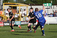 AFC Wimbledon midfielder Dean Parrett (18) scoring goal to make it 1-0 during the EFL Sky Bet League 1 match between AFC Wimbledon and Bury at the Cherry Red Records Stadium, Kingston, England on 5 May 2018. Picture by Matthew Redman.