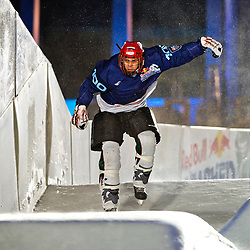 03-02-2012 SKATING: RED BULL CRASHED ICE WORLD CHAMPIONSHIP: VALKENBURG<br /> Bas Schobben during a training session<br /> ©2012-FotoHoogendoorn.nl/Peter Schalk