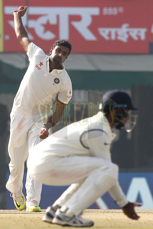 Ravichandran Ashwin of India bowls a delivery during day 1 of the third test match between India and England held at the Punjab Cricket Association IS Bindra Stadium, Mohali on the 26th November 2016.<br /> <br /> Photo by: Deepak Malik/ BCCI/ SPORTZPICS