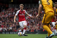 Nacho Montreal Of Arsenal passes the ball.<br /> Premier league match, Arsenal v Brighton & Hove Albion at the Emirates Stadium in London on Sunday 1st October 2017. pic by Kieran Clarke, Andrew Orchard sports photography.<br /> c