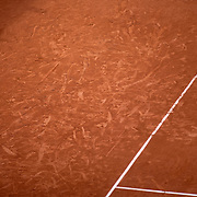 PARIS, FRANCE October 01. Players markings on the clay court surface during the Denis Shapovalov of Canada match against Roberto Carballes Baena of Spain in the second round of the singles competition on Court Suzanne Lenglen during the French Open Tennis Tournament at Roland Garros on October 1st 2020 in Paris, France. (Photo by Tim Clayton/Corbis via Getty Images)