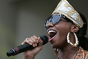 CHICAGO, IL - AUGUST 8: Santigold performs at 2009 Lollapalooza Music Festival on August 8, 2009 in Grant Park, Chicago, Illinois. Photo by Bryan Rinnert/3Sight Photography