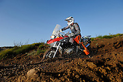 BMW R1200GS motorcyle on dirt hill with sky background.  Taken at Rawhyde Adventure Challenge 2009 motorcycle event.