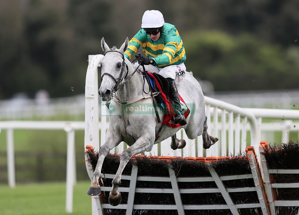 Elimay ridden by Mark Walsh clears the last on the way to winning the Louis Fitzgerald Hotel Hurdle during day two of the Punchestown Festival at Punchestown Racecourse, County Kildare, Ireland.