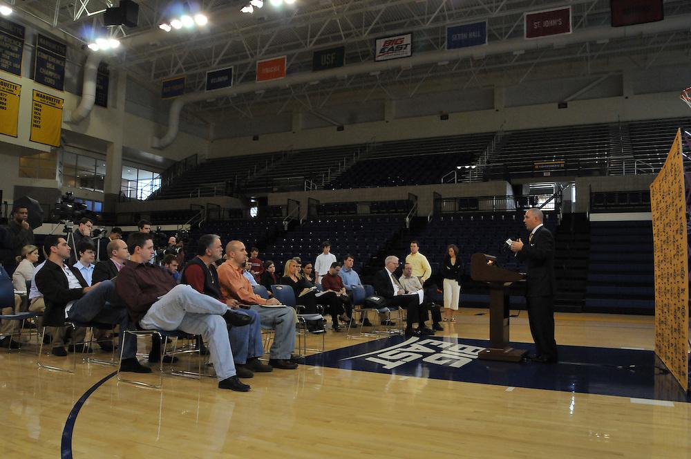 Head Coach Buzz Williams addresses the press at Media Day, Thursday Oct. 16 2008.