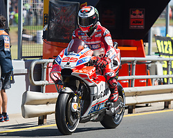 October 20, 2017 - Melbourne, Victoria, Australia - Spanish rider Jorge Lorenzo (#99) of Ducati Team inpit lane during the first free practice session of the MotoGP class at the 2017 Australian MotoGP at Phillip Island, Australia. (Credit Image: © Theo Karanikos via ZUMA Wire)