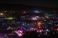 When I get to be up here I look out over the sea of moving lights I feel immense gratitude. Gratitude to my wife and kids and the entire Burning Man community. Thank you all.