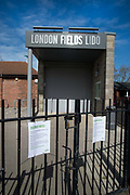 Daily life continues but not as as normal with some rules and restrictions in Hackney on 21st March 2020 in London, United Kingdom. London Fields Lido is closed.