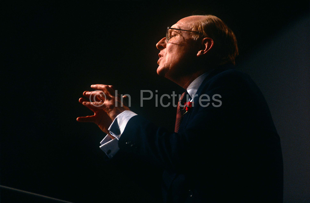 Leader of the Labour party, Neil Kinnock makes a passionate speech during a Labour Party rally on 28th February 1992 in Swansea, Wales. Neil Gordon Kinnock, Baron Kinnock PC b1942 is a British Labour Party politician. He served as a Member of Parliament from 1970 until 1995, first for Bedwellty and then for Islwyn. He was the Leader of the Labour Party and Leader of the Opposition from 1983 until 1992, making him the longest-serving Leader of the Opposition in British political history.