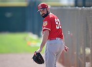 Angels' pitcher Matt Shoemaker looks over his shoulder after throwing to live batters during workouts at the Angels' Spring Training facility in Tempe, AZ on Wednesday, February 22, 2017. (Photo by Kevin Sullivan, Orange County Register/SCNG)