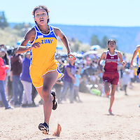 Zuni Thunderbird Shante Natewa sprints to the finish line in second place during the girls varsity race at the Zuni Invitational cross country meet in Zuni Saturday.