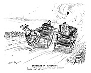 "Brothers in Adversity. Farmer. ""Pull up, you fool! The mare's bolting!"" Motorist. ""So's the car!"" (an early motoring street scene)"
