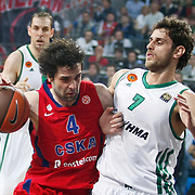 CSKA Moscow's Milos Teodosic (L) and Panathinaikos's Stratos Perperoglou (R) during their Euroleague Final Four semifinal Game 1 basketball match CSKA Moscow's between Panathinaikos at the Sinan Erdem Arena in Istanbul at Turkey on Friday, May, 11, 2012. Photo by TURKPIX