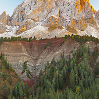Sunset at Mt Sass de Putia in the Dolomites in northern Itally