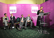licensed to London News Pictures. LONDON UK. 27/04/11. (L-R) Katie Ghose, Tim Farron, Nigel Farage, Alan Johnson listen to Caroline lucas' speech. A News conference held today (27 April 2011) in Church House, London. The conference was introduced by Katie Ghose with Lib Dem President Tim Farron, Green Party Leader Caroline Lucas, UKIP leader Nigel Farage and  Labour's  Alan Johnson, supporting a Yes for the Alternative Vote. Photo credit should read Stephen Simpson/LNP