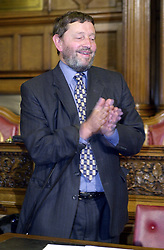 The now Home secretary David Blunket MP enjoys the results of the 2001 a general election night  at the sheffield Town Hall.