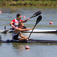 Lisa Carrington from New Zeland paddles her boat in the K1 women Kayak 200m final of the 2011 ICF World Canoe Sprint Championships held in Szeged, Hungary on August 21, 2011. ATTILA VOLGYI