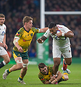 Twickenham, United Kingdom, Saturday, 24th  November 2018, RFU, Rugby, Stadium, England,  Manu TUILAGI, tackled by left, Michael HOOPER and Groundded, Jack Dempsey, during the Quilter Autumn International, England vs Australia, © Peter Spurrier , [Mandatory Credit: Peter Spurrier/Intersport Images],